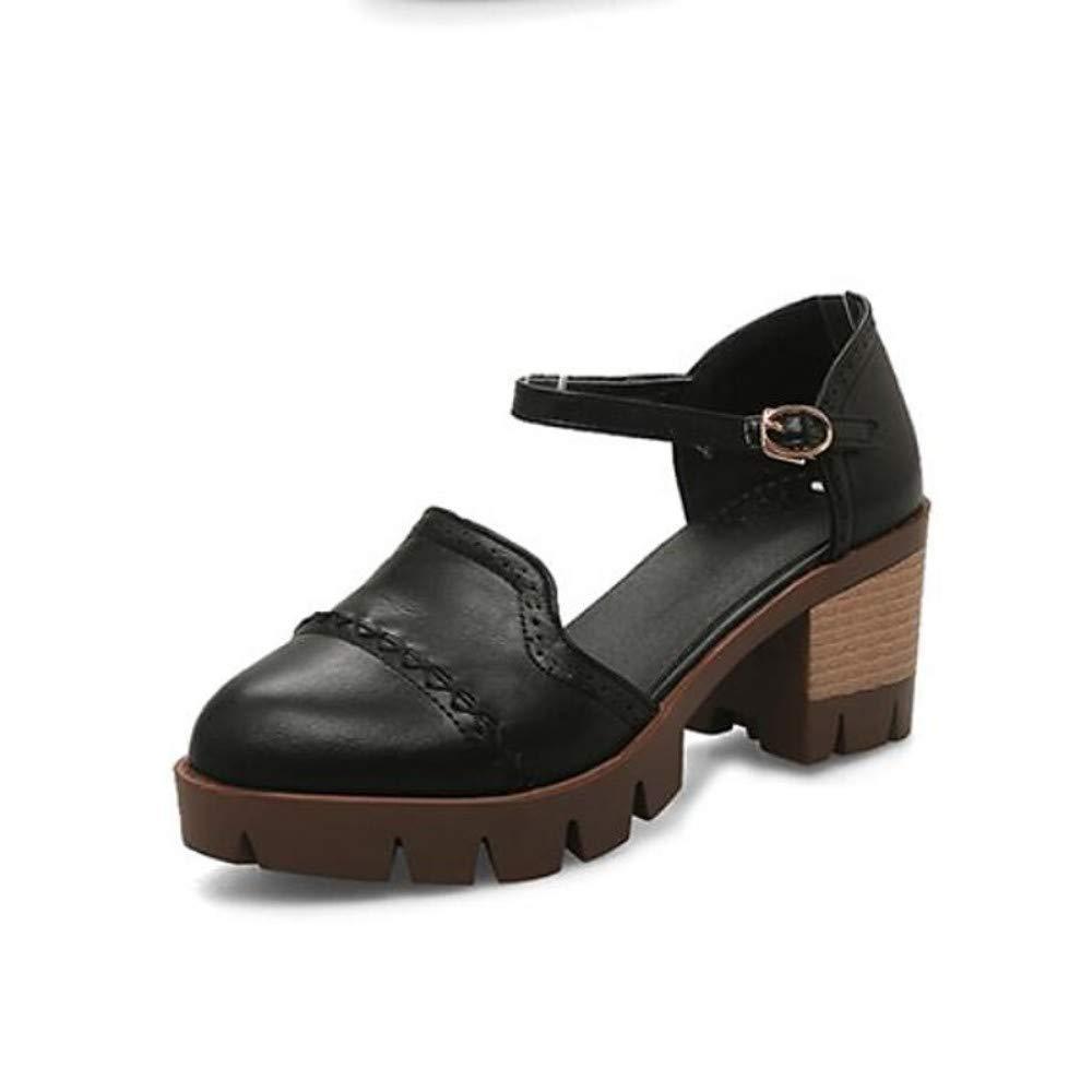 schwarz 36.5 EU Damen PU (Polyurethan) Summer Sweet Minimalism Sandalen Chunky Heel Round Toe Grau Mandel Dunkelbraun