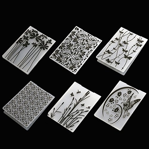 6pcs Plastic Embossing Folder Flower Animal DIY Scrapbooking Photo Album Card Paper Craft Decoration Template Mold by facemile