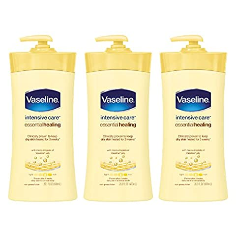 Vaseline Intensive Care Body Lotion, Essential Healing 20.3 oz, 3 Count - Body Lotion Deep Moisture