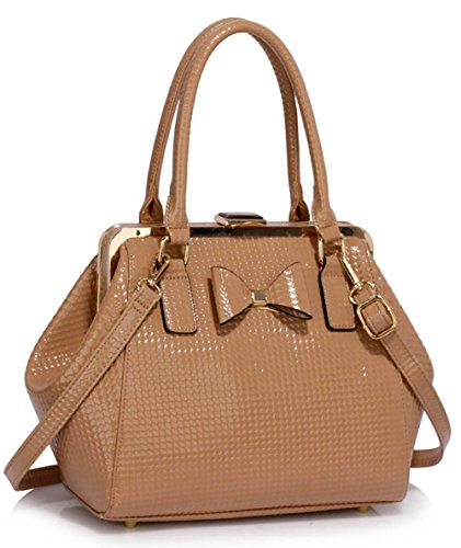Womens Tote Bags Ladies Designer Handbags Faux leather Medium With Bow and Metal Work Design 1 - Nude