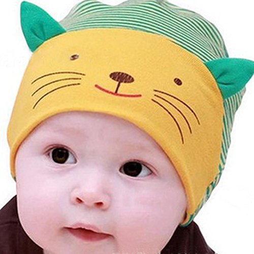 Efaster(TM) Comfortable Hat Cap Cotton Beanie Cartoon Kitten Infant Newborn Kids (Yellow)