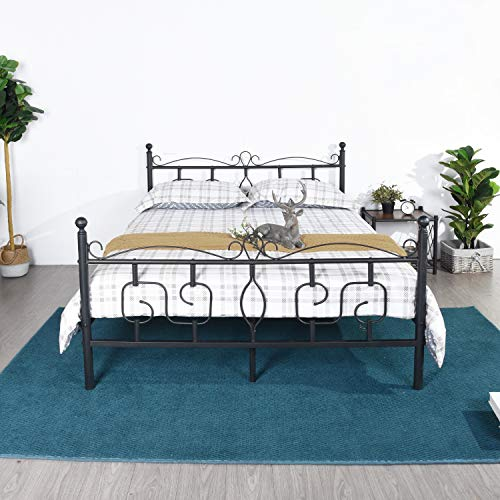 DORAFAIR Queen Size Bed Frame Metal Platform Bed with Victorian Style Headboard and Footboard,Mattress Foundation/Box Spring Replacement/Non-Slip Steel Support/Smart Bed Base,Matte Black ()