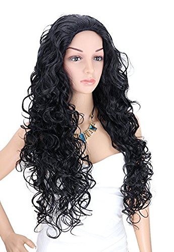 Kalyss Long Black Wigs for Women Heat Resistant Curly Wavy Synthetic Fiber Cosplay Costume Full Hair Wig For Women,24 inches 0.66lb