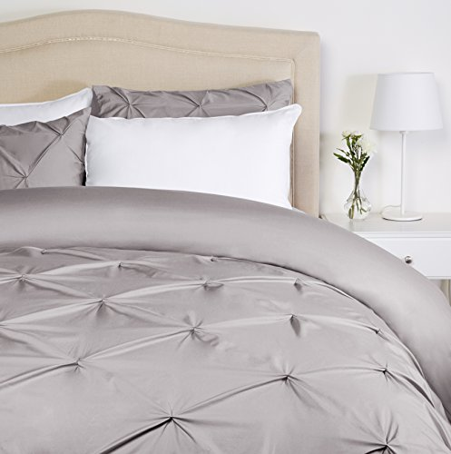 Pinzon Pinch-Pleat Duvet Cover Set, Full / Queen, Dove Grey