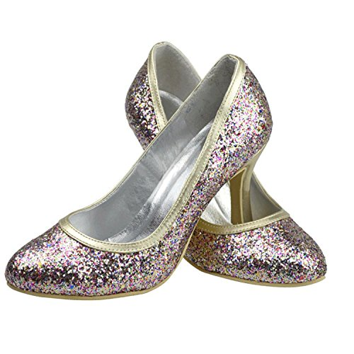 Minitoo Girls Womens High Heel Glitter Bridal Wedding Pumps Formal Party Shoes Multicolor-9.5cm Heel wZHwuEMLrf