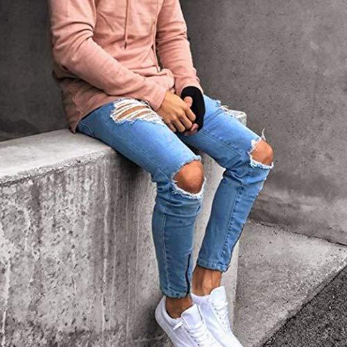 Strappati Fit Fori Neri Comodo Jeans Nero Chern Pantaloni Con Estivi Uomo Slim qZwFS