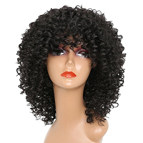 MERISIHAIR Short Curly Wigs for Black Women Synthetic Afro Curly Hair for African American Women Black Natural Color Heat Resistant Fiber with Wig Cap ()