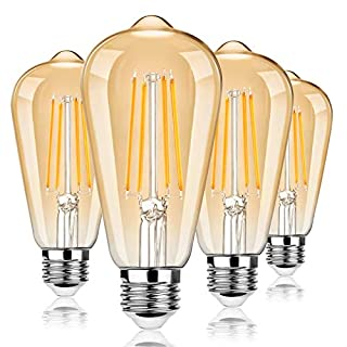 Dimmable LED Edison Light Bulbs 100W Equivalent, Vintage Light Bulb 2700K Warm White(Amber Glass), ST64/ST21 LED Filament Bulbs 8W 1200LM, E26 LED Edison Bulbs for Home, Reading Room, Bathroom, 4-Pack