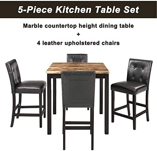 Mooseng Brown Table 5-Piece Pack Counter Height Dinette Set Faux Marble Top 4 Leather-Upholstered Chairs for The Bar, Breakfast Nook, Kitchen, Dining Living Room