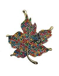 TTjewelry Vintage Multi-Color Rhinestone Crystal Maple Leaf Woman Brooch Pin Gold Tone