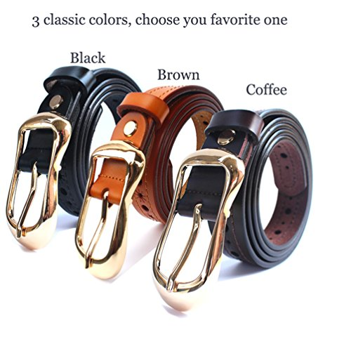 H-Time Women's Belts for Jeans, Hollow Out Leather Belts for Women, Coffee, Up to 34'' Waist(110cm belt) by H-Time (Image #1)