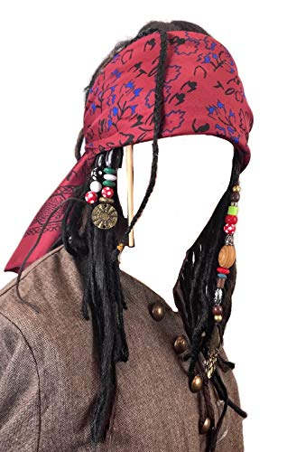 Exact Wig w/Bandana Dreadlock DLX Jack Sparrow Costume ()
