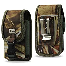 Heavy Duty Rugged Camo Hunting Case with Velcro Locking Clip Closure and Metal Clip on the back fits Motorola Moto X with the Otterbox Defender or Commuter Case on it. Also has canvas belt loop. Perfect for Motorcycle Riders.