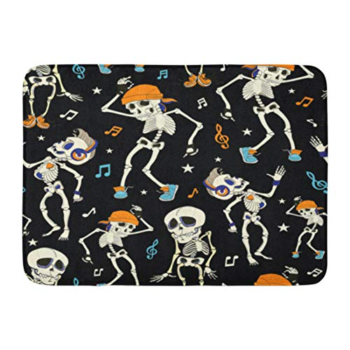 Emvency Bath Mat Blue Costume Dancing Skeletons Party Halloween Music Disco Isla Vista California Funny Headphones Orange Bathroom Decor Rug 16