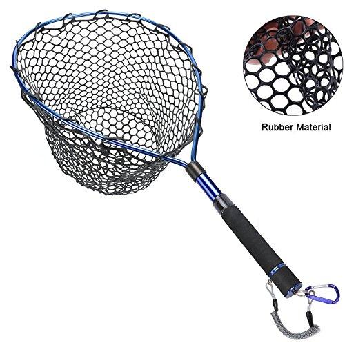 Fly Fishing Net Aluminum Landing Net with Soft Rubber Mesh,Extending Pole Handle and Magnetic Release (Rubber Mesh Landing Net)