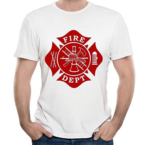 SmallHan Mens Fire Dept Maltese Cross Humor Travel White Tee M Short Sleeve