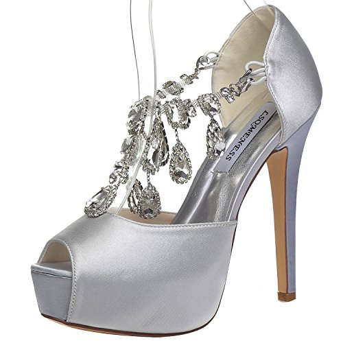 JIAME Womens Peep Toe Stiletto High Heel Platform Pumps T Strap Satin Rhinestones Wedding Bridal Shoes (8.5BM(US)(Asia 40), Silver) - Satin Peep Toe Pump Heel
