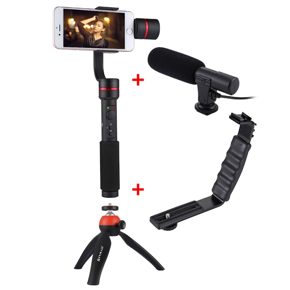 360° 3-Axis Handheld Selfie Phone Gimbal Steadicam Mount+L Bracket+Microphone