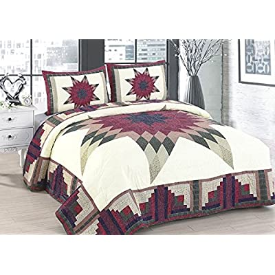 Image of AHT Cabin Star 4 Piece King Quilt Bedding Set (Includes King Size Quilt, 2 Standard Size Shams and 1 Throw Blanket) Home and Kitchen