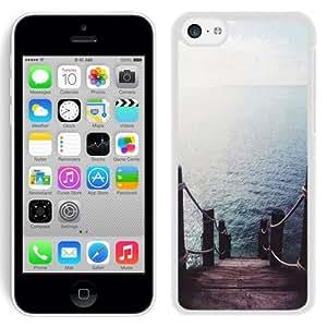 NEW Unique Custom Designed iPhone 5C Phone Case With Pier Dock Ocean View_White Phone Case