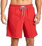 Nautica Men's Solid Nylon Swim Trunk,Red,Large