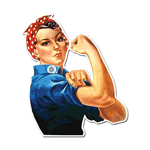 Dark Spark Decals Rosie The Riveter Feminist Symbol - Full Color Vinyl Decal for Indoor or Outdoor use, Cars, Laptops, Décor, Windows, and More (3in)