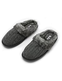 Ladies Faux Fur + Cable Knit Slippers – Comfortable Memory Foam Indoor and Outdoor Non-Skid Sole