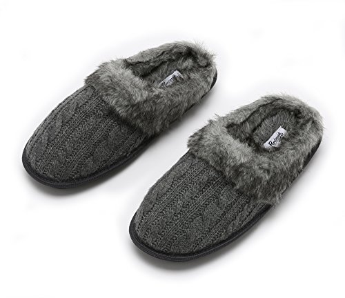 Pembrook Ladies Faux Fur + Cable Knit Slippers – Gray, Large - Comfortable Memory Foam Indoor and Outdoor Non-Skid Sole - Great Plush Slip on House Shoes for adults, women, girls by Pembrook (Image #10)'