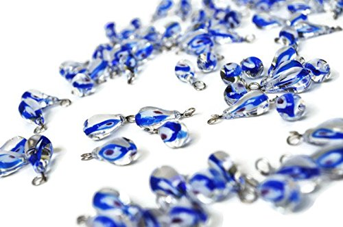 10 Murano Lamp Work Turkish Evil Eye Pendant Beads For Necklace (Evil Eye Glass Murano Necklace)