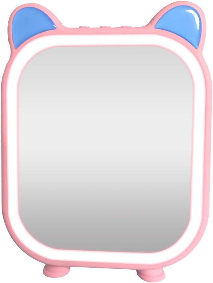 Espejo de vanidad Iluminado, Espejo de Maquillaje de Alta definición con Luces, diseño de Control táctil, Espejo de vanidad de Mesa con Altavoz, Recargable, Rosa