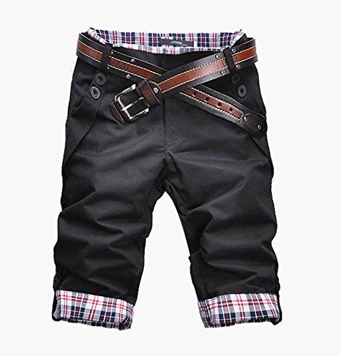 (NAIL39) ゴルフウエア メンズ レディース ハーフパンツ ショートパンツ ショーパン 半ズボン メンズ 短パン デニム カジュアル おしゃれ 綺麗 チェック アメカジ (ブラック 黒、XL)