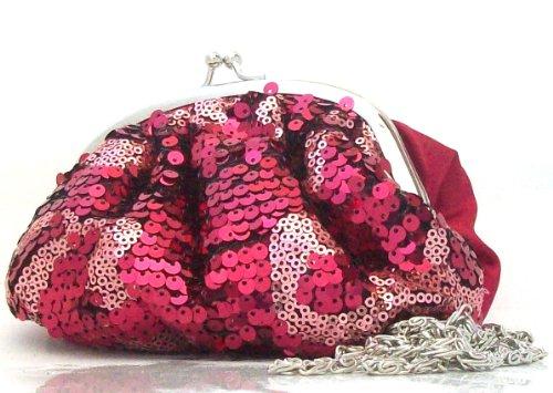 Avon Handtasche, mit Pailletten, Rot und Rosa