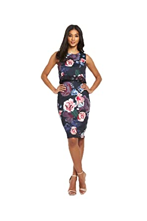 ff3f854a Lipsy Dark Floral Print Lace Midi Dress in Multi Size 8: Amazon.co.uk:  Clothing