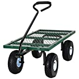 "Ollieroo Utility Wagon Farm and Ranch Heavy-Duty Steel Garden Cart with Removable Folding Sides and 10"" Pneumatic Tires 660Lb Capacity 38""x20"" Bed Powder Coated Green Finish"