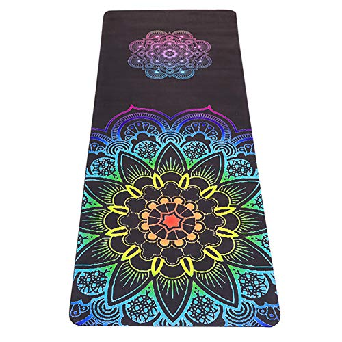 Jodream Yoga Mat - Natural Rubber Eco-Friendly 5mm Thick Yoga Mat, Non-Slip 2-in-1 Mat&Towel, Premium Print Exercise Fitness Mat with Carrying Strap&Bag for All Types Yoga