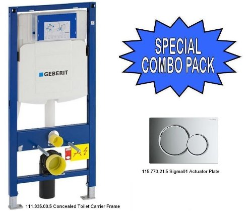 Geberit 111.335.00.5 Concealed Toilet Carrier Frame and 115.770.21.5 Actuator Plate - SPECIAL COMBO! by Geberit
