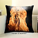 PleayeL Soft Canvas Throw Pillow Covers Cases for Couch Sofa -chef flambing bananas in japanese teppanyaki restaurant closeup Print 20 x 20(50 x 50 cm)