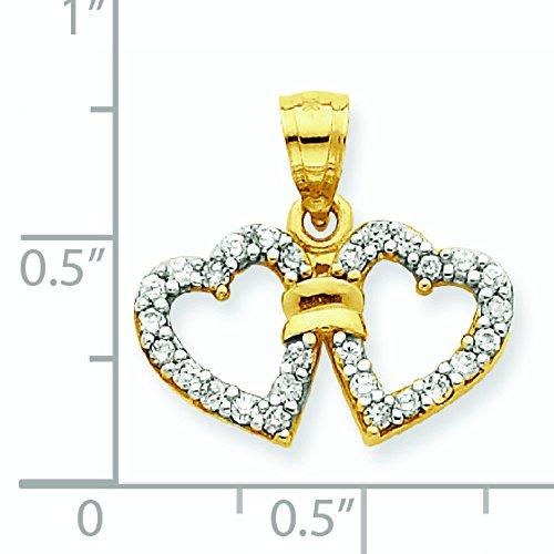 10K Or CZ Pendentif double coeur-Or de qualité plus élevé que or 9carats