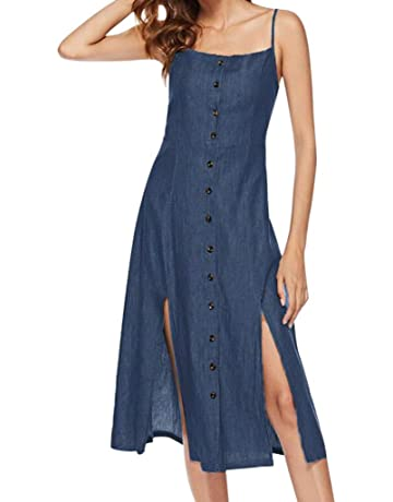00e154ef0a2 Women's Swing Sling Dress Solid Color Sleeveless Knee Skirt Vintage Strappy  Summer Beach Cowboy Camis Maxi