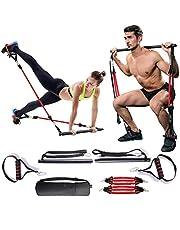 Verstelbare weerstandsband voor dames en heren, kniebuigingen en zitspieren, draagbaar, voor thuis, gymnastiek, yoga, pilates, stick, fitnessbar kit met voetlus voor het hele lichaam