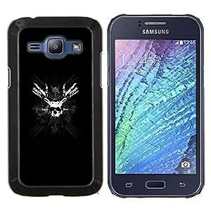 EJOOY---Cubierta de la caja de protección para la piel dura ** Samsung Galaxy J1 J100 ** --Pirata del cráneo Mascarilla Huesos Símbolo Blanco Negro
