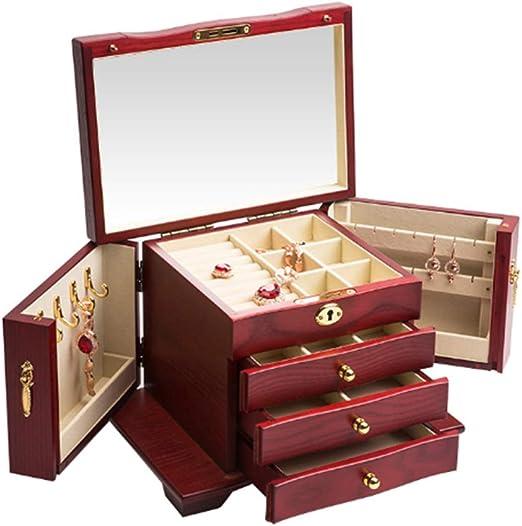 ZR&YW Caja De Joyería De Madera, 4 Capas con Espejo Retro ...
