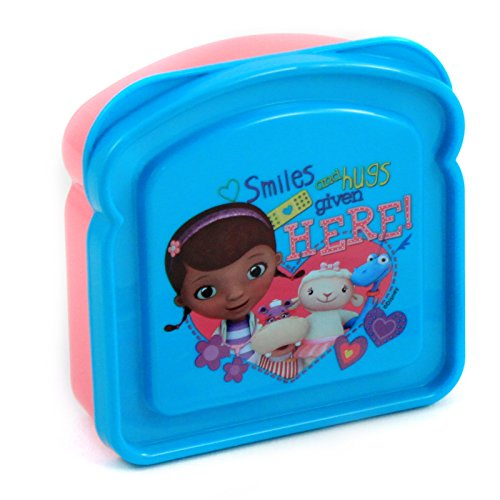 Disney Doc McStuffins Pink And Blue Sandwich Shaped Container