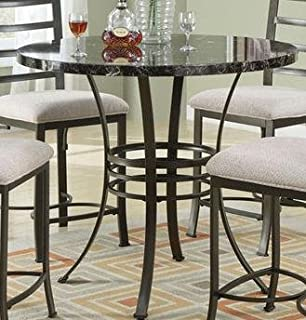 Black Faux Marble Top Round Metal Counter Height Table By Acme Furniture