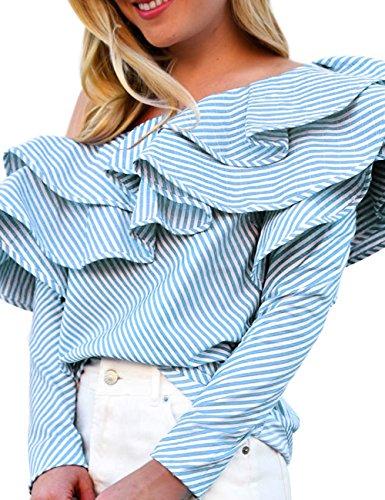 3e0a09cadaca ... ISASSY Damen Schulterfreies Oberteil Langarm Tops Sommer Bluse Shirt  mit Carmen Ausschnitt Blau BAazPDh ...