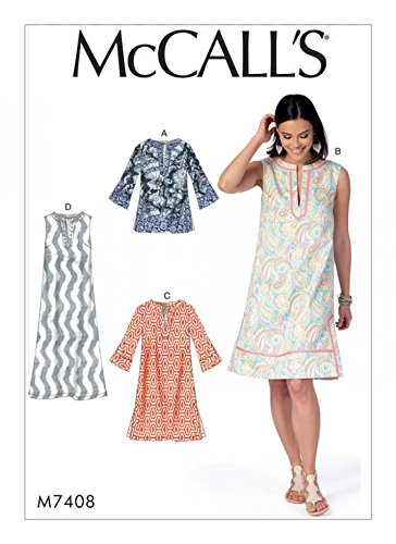 Easy Dress Tunic - McCalls Ladies Easy Sewing Pattern 7408 Notched Tunic Tops & Dresses