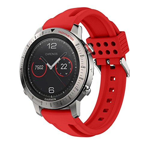 Womail Luxury Sports Soft Silicone Bracelet Wrist Watch Replacement Strap Band with Adjustable Clasp For Garmin Fenix Chronos GPS Watch (Red)