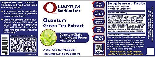 Quantum Nutrition Labs Green Tea Extract, 480 Capsules, Vegan w/ 160mg EGCG per Serving - Premier Research Supports Support for Weight & Cardiovascular Health