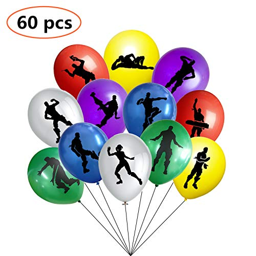 Video Game Party Supplies Balloons for Kids Party Fort Night Decorations Double side Design 60 Pack 12 Inch Latex Balloons Perfect for Themed Party ()