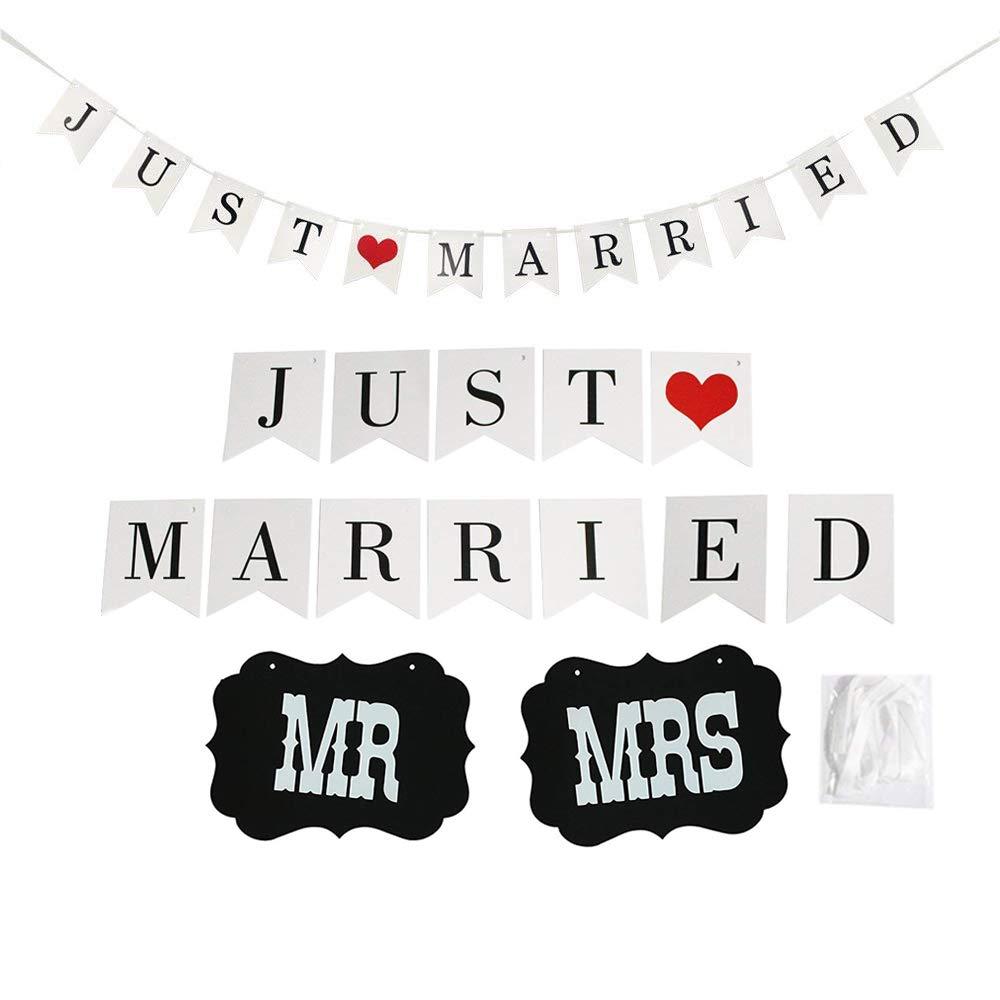 simuer JUST 結婚式 バナー バンティング フォトブース 小道具 ガーランド ブライダル シャワー デコレーション Mr and Mrs チェア サイン   B07H4J19JJ